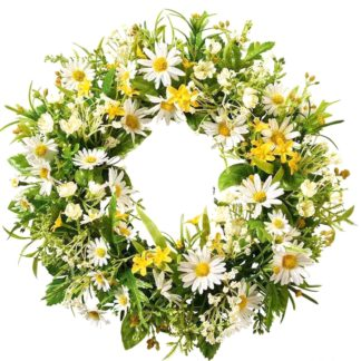 Blumenkranz Seidenblüten MARGERITEN creme  ø 30 cm
