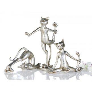 Katzen Trio CAT-AEROBIC silber