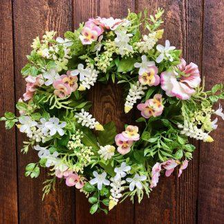 Blumenkranz Seidenblüten STIEFMÜTTERCHEN rosa ø 36 cm