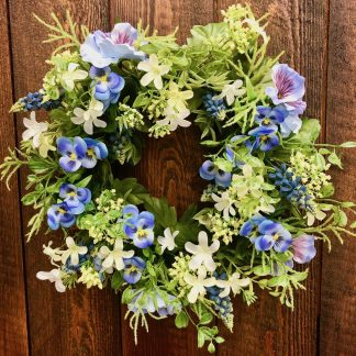 Blumenkranz Seidenblüten STIEFMÜTTERCHEN blau ø 36 cm