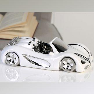 Keramik Auto CABRIO Casablanca weiß/silber L 31,5 cm