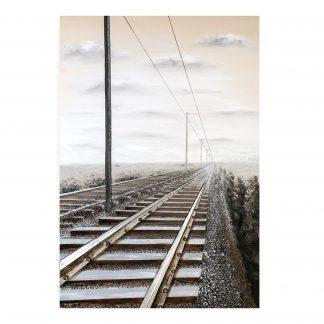 """Leinwandbild auf Keilrahmen """"RAILROAD"""" Casablanca 3D 150x100 cm"""