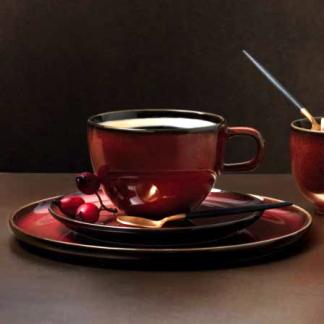 Kaffeetasse | Espressotasse mit Untertasse ASA Kolibri rusted red