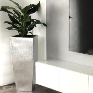 Bodenvase COLEEN Hochglanz silber H 100 cm