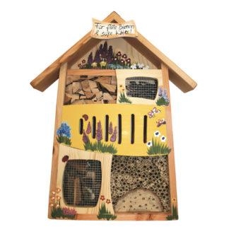 Insektenhotel Insektenquartier groß FÜR FLOTTE BIENEN & SÜSSE KÄFER Vogelvilla gelb H 58 cm