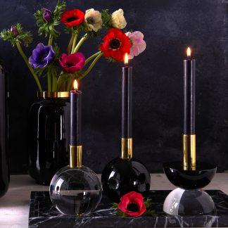 Kerzenhalter DIOPTRICS GiftCompany schwarz-rund | schwarz/transparent-halbrund ø 10 cm