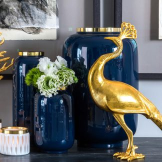 Vase SAIGON GiftCompany midnight blue/gold H 40 | 30 | 20 cm