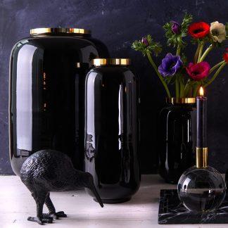 Vase SAIGON GiftCompany schwarz/gold H 40 | 30 | 20 cm