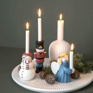 KÄHLER Christmas Schneemann & Zinnsoldat & Weihnachtsengel & Stearinkerzen