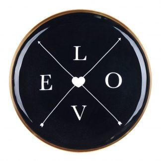 Tablett SAIGON LOVE mit Goldrand GiftCompany Metall ø 35 cm
