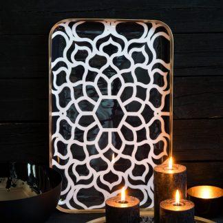 Tablett SAIGON GiftCompany Metall weiß/schwarz | schwarz/weiß 42x26 cm
