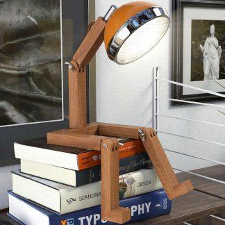 Design Tischlampe MR WATTSON PIFFANY Copenhagen McLaren Orange aus Eschenholz