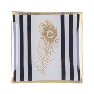 """Glasteller """"GOLDEN FEATHER"""" GiftCompany 10,0x0,8x10,0 cm"""