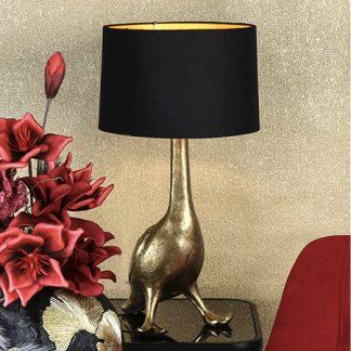 Lampe ENTE gold mit Antikfinish Casablanca Design H 62 cm