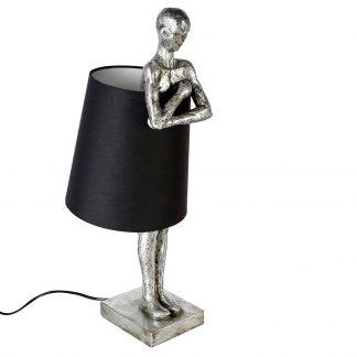 Lampe MAN silber mit Antikfinish Casablanca Design H 58 cm