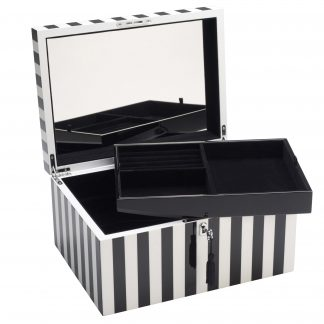 Schmuckkästchen Schmuckbox TANG GiftCompany Lack Streifen schwarz/weiß B 31 cm