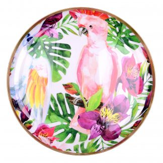 Tablett SAIGON BIRDS mit Goldrand GiftCompany Metall ø 35 cm