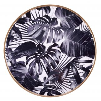 Tablett SAIGON BLACK LEAVES mit Goldrand GiftCompany Metall ø 35 cm