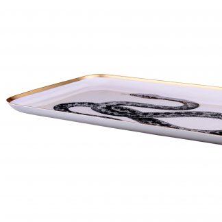 Tablett Saigon Schlange Mit Metallrand Metall 42x26 Cm 1 324x324