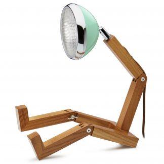 Design Tischlampe MR WATTSON PIFFANY Copenhagen Tiffany Green H 40 cm aus Eschenholz