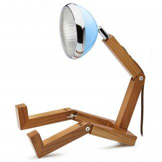 Design Tischlampe MR WATTSON PIFFANY Copenhagen Old Havana Blue H 40 cm aus Eschenholz