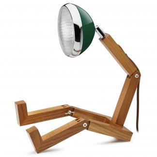 Design Tischlampe MR WATTSON PIFFANY Copenhagen Chiltern Green H 40 cm aus Eschenholz