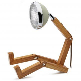 Design Tischlampe MR WATTSON PIFFANY Copenhagen Desert Green H 40 cm aus Eschenholz