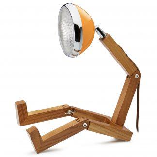 Design Tischlampe MR. WATTSON PIFFANY Copenhagen McLaren Orange H 40 cm aus Eschenholz