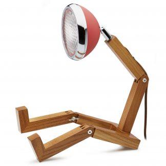 Design Tischlampe MR. WATTSON PIFFANY Copenhagen Dream Red H 40 cm aus Eschenholz