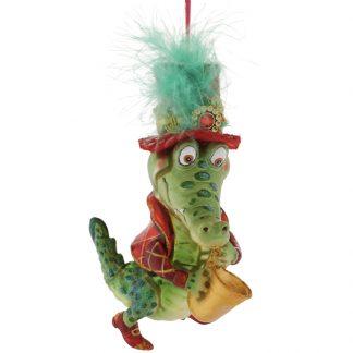 Weihnachtsbaumschmuck KROKODIL mit Saxophon GiftCompany H 13 cm