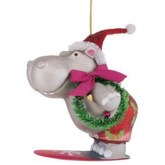 Weihnachtsbaumschmuck HIPPO MIT KRANZ GiftCompany H 11 cm