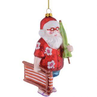 Weihnachtsbaumschmuck SANTA MIT LIEGESTUHL GiftCompany H 14 cm