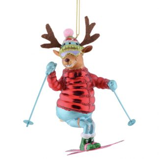 Weihnachtsbaumschmuck SKIFAHRER RENTIER GiftCompany H 13 cm