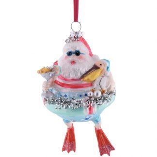 Weihnachtsbaumschmuck WEIHNACHTSMANN IM SCHWIMMRING GiftCompany H 15 cm