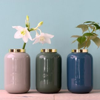 Vase SAIGON GiftCompany cool grey | steel blue | mantis green H 14 cm