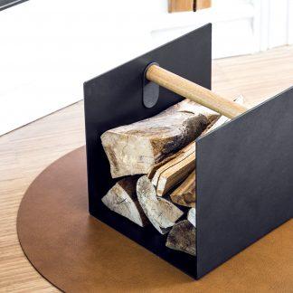 Kaminholzregal innen Container LIND DNA Nupo Leder black H 31 cm
