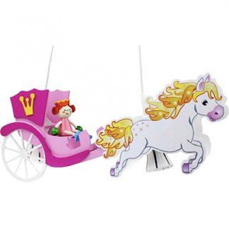 Kinderzimmerlampe ELOBRA Pendelleuchte Pferdekutsche mit Prinzessin LEIA