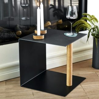 Beistelltisch Table&More LIND DNA Leder Hippo black-anthracite | navy green H 40 cm