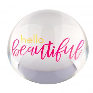 "Briefbeschwerer LOURD GiftCompany ""HELLO BEAUTIFUL"" Kristallglas ø 9,8 cm"