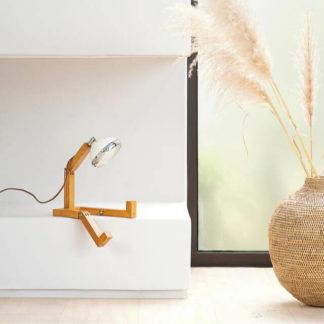 Design Tischlampe MR. WATTSON Lampe Vintage White Piffany Copenhagen aus Eschenholz H 40 cm