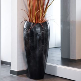 Bodenvase CAROLINE Hochglanz schwarz/silber in Marmoroptik H 81 cm