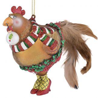 Weihnachtsbaumschmuck HAHN MIT KUGEL GiftCompany H 12 cm