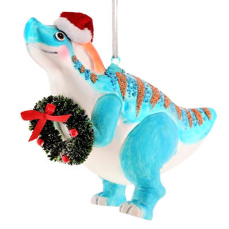 Weihnachtsbaumschmuck T-REX MIT KRANZ GiftCompany H 10 cm