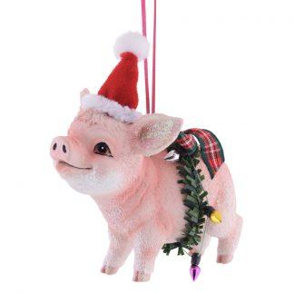 Weihnachtsbaumschmuck SCHWEIN MIT WEIHNACHTSMÜTZE GiftCompany H 11 cm