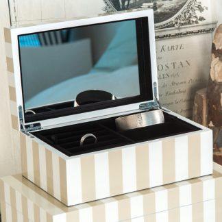 Schmuckkästchen Schmuckbox TANG GiftCompany Lack beige / weiss B 28 cm