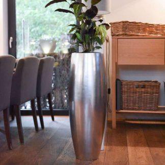 Bodenvase CARA Hochglanz silber metallic H 100 | 80 cm