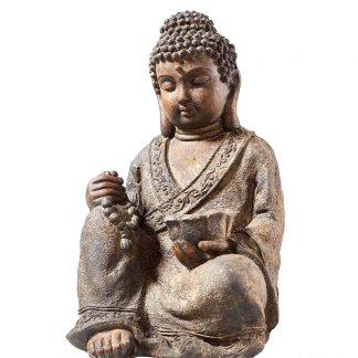 Buddha Sitzend Hellgrau H 45 Cm 2 324x324
