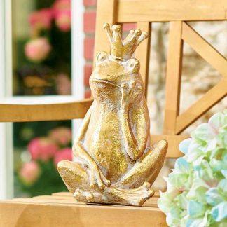 Frosch Albrecht mit Krone H 35 cm