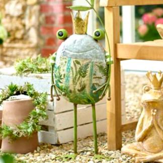 Figur Frosch THEO mit Krone und Blatt Metall H 78 cm