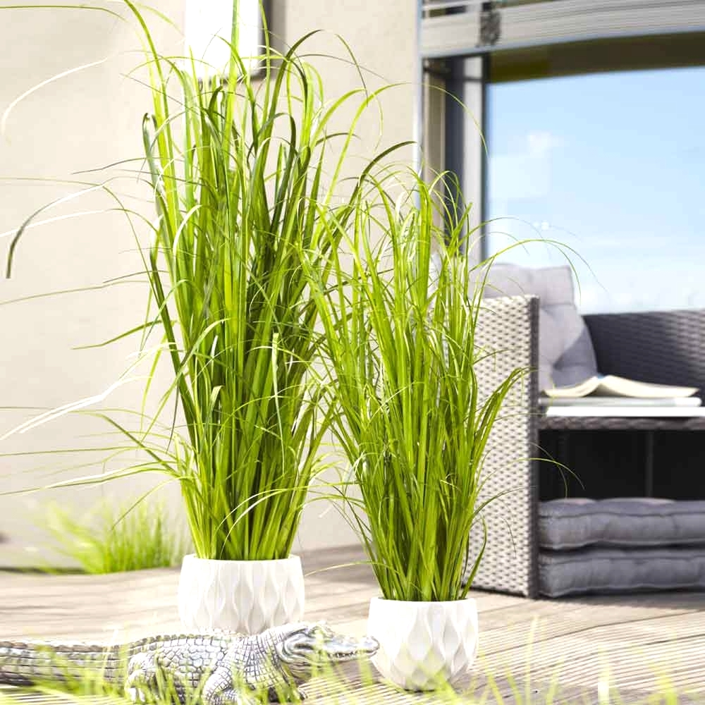Kunstblume GRAS im Topf auf Moos H 150 cm